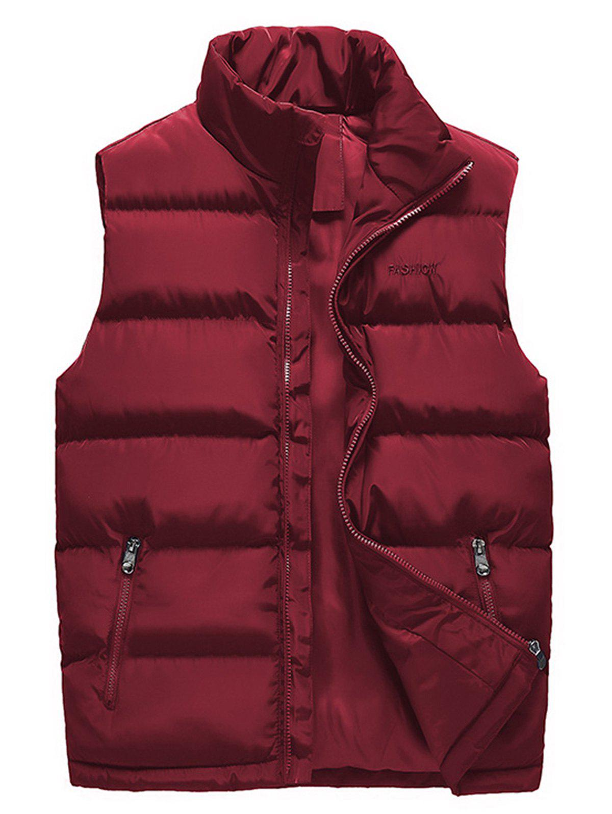 Zip Up Embroidered Padded Waistcoat - WINE RED 2XL