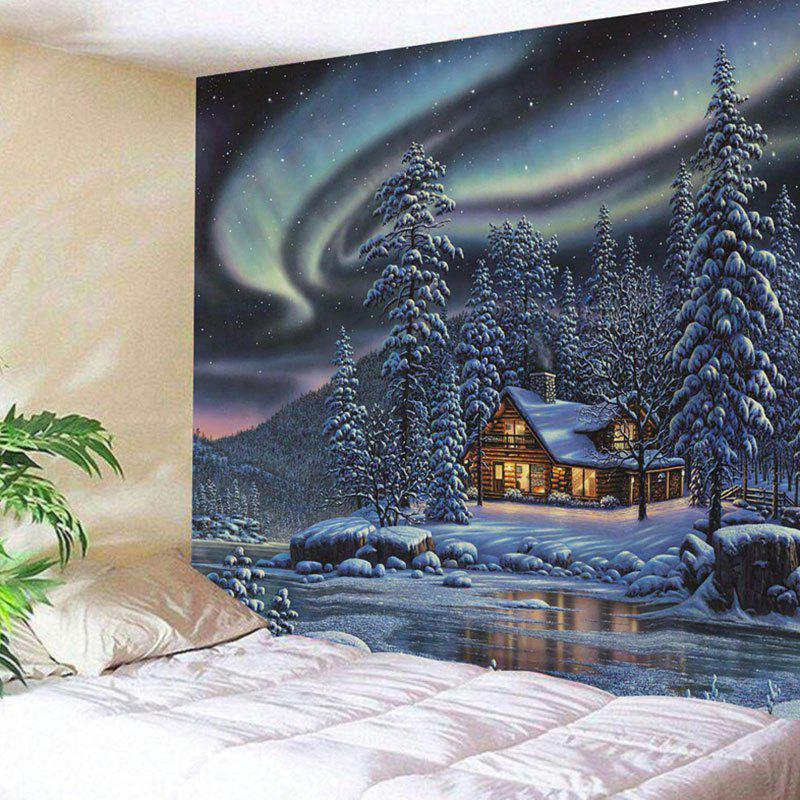 Snowy Trees Cabin River Aurora Print Wall Decor Tapestry flame trees of thika