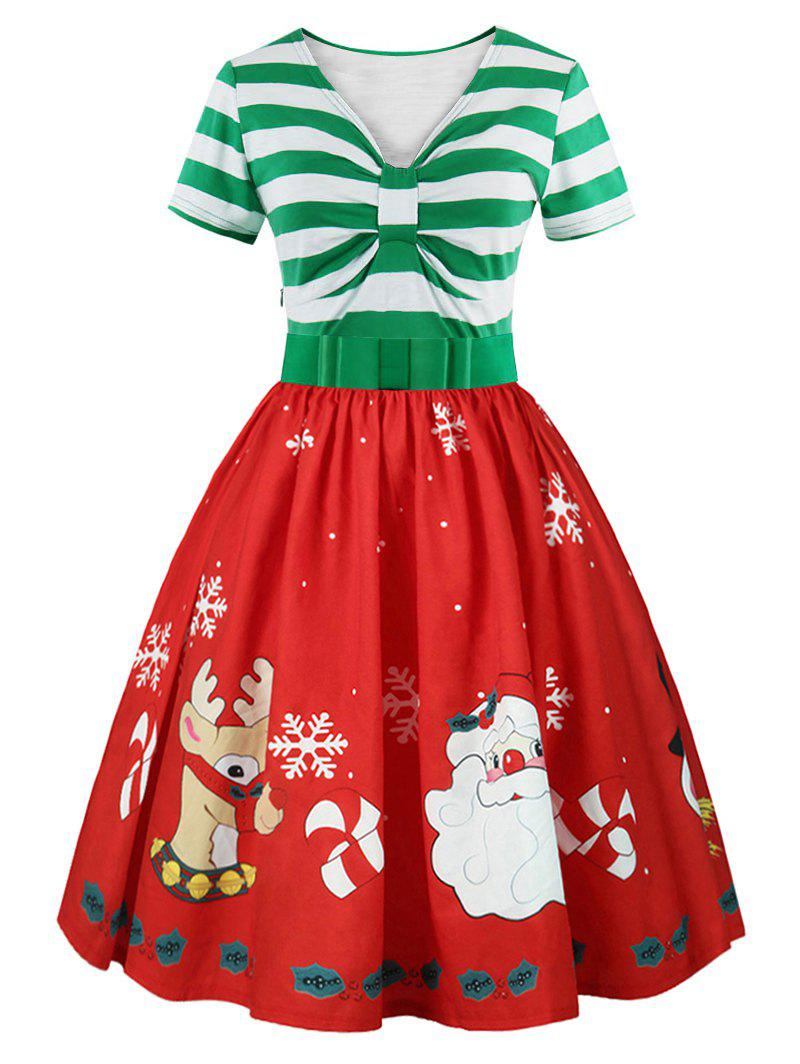 Christmas Printed Short Sleeve Belted Vintage Dress - LIGHT GREEN M