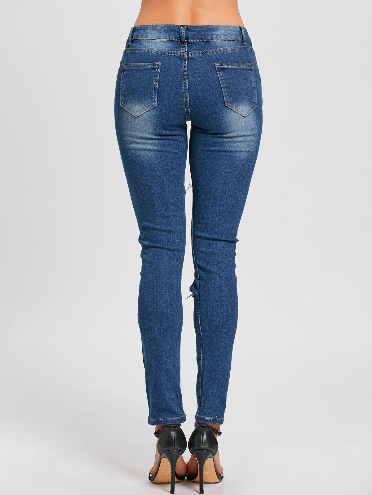 Skinny Distressed Hole Jeans - BLUE 2XL