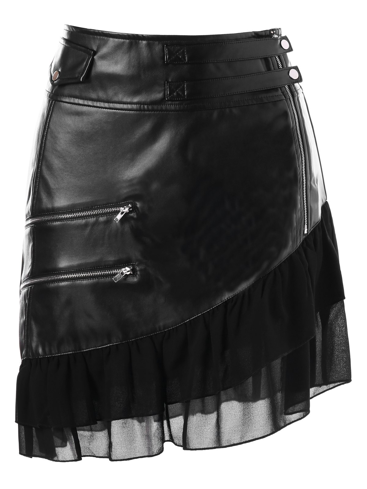 Faux Leather Zipper Flounce Panel Skirt - BLACK M