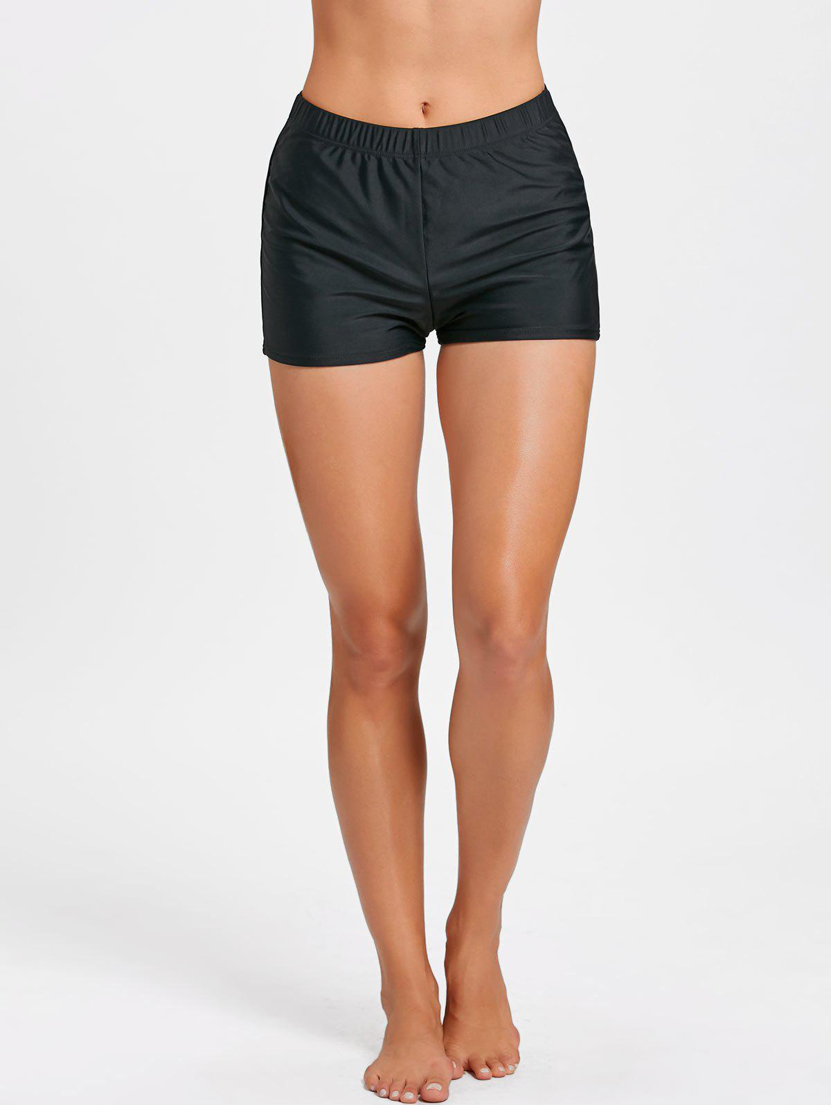Beachwear Boxer Boyshort Swim Bottom - BLACK L
