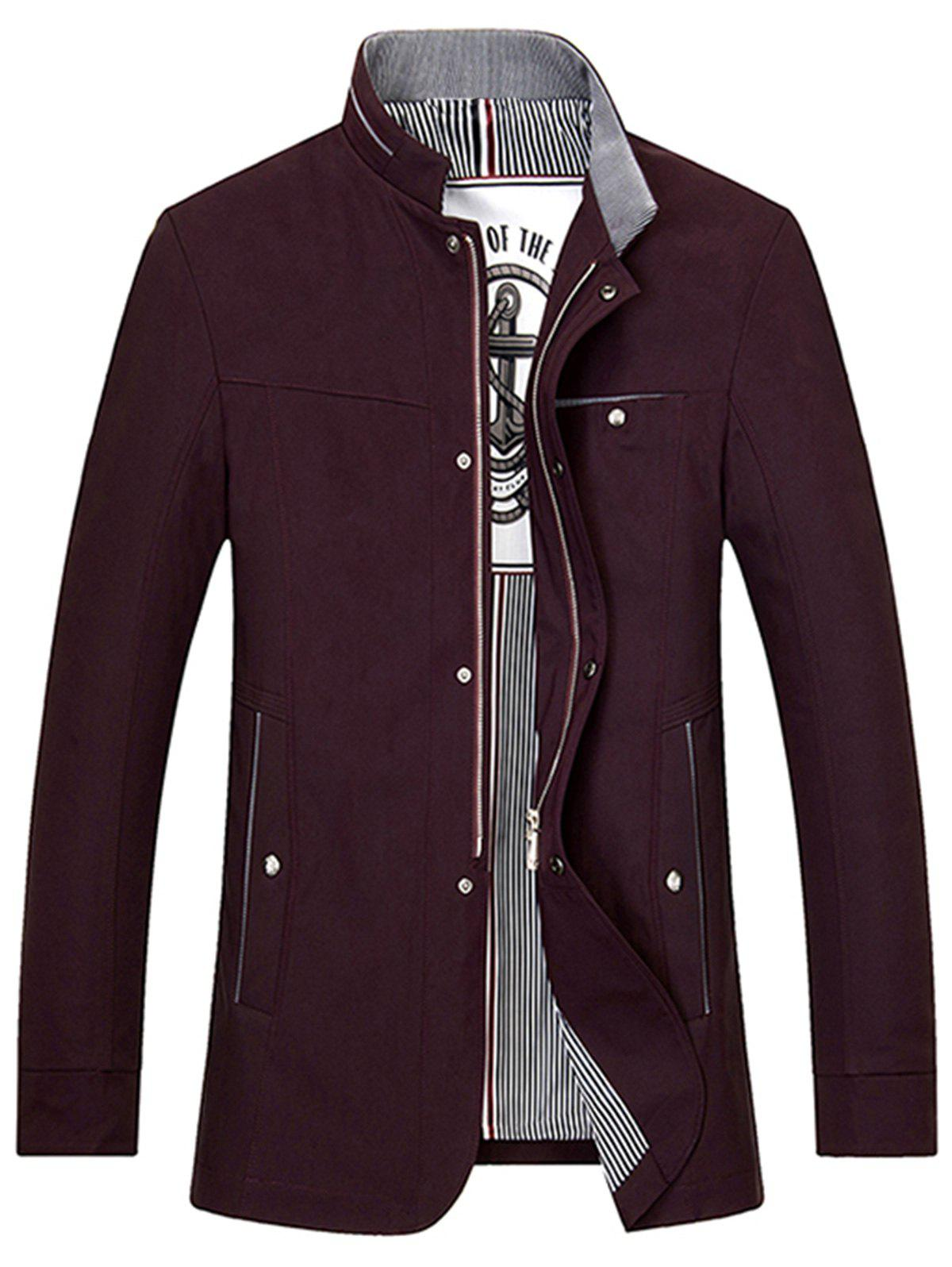 Slim Fit Stand Collar Zip Up Jacket - WINE RED L