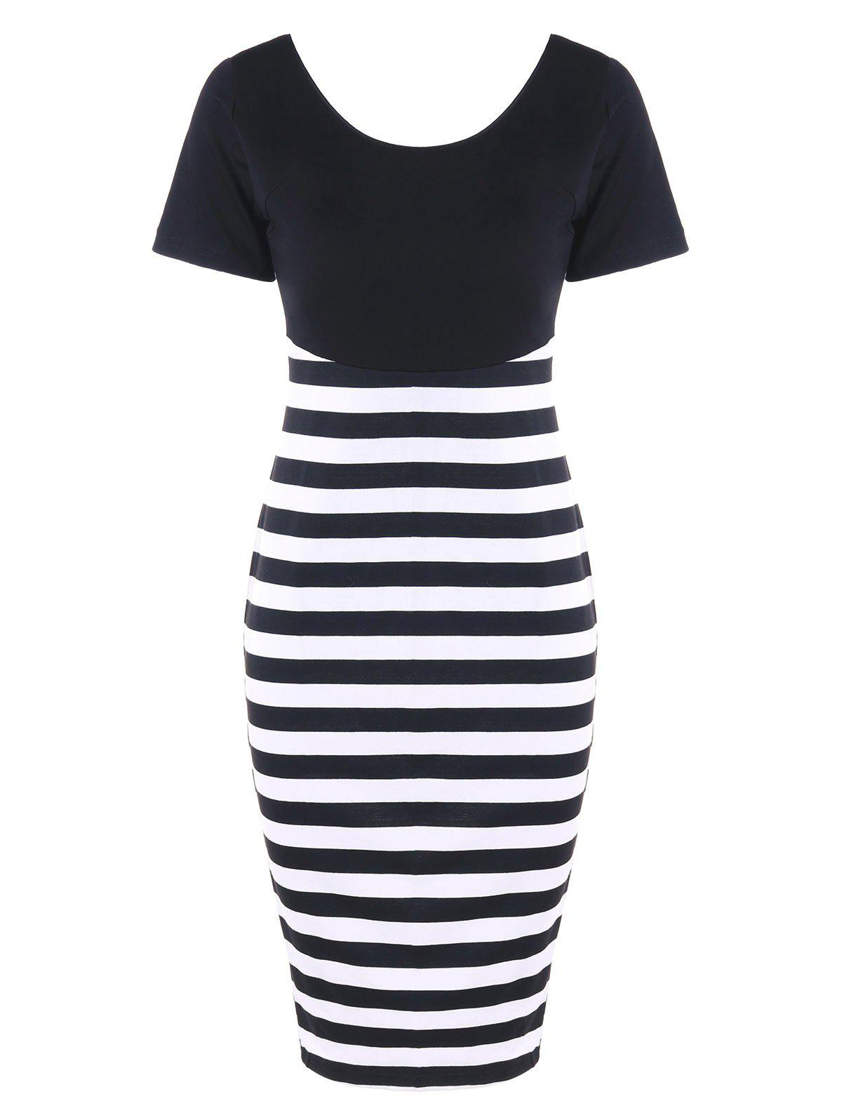 Open Back Striped Fitted Dress - BLACK WHITE M