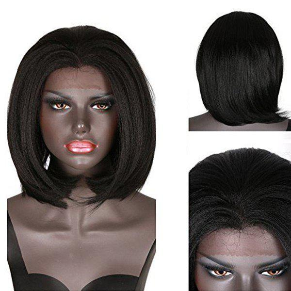 Short Straight Yaki Bob Synthetic Lace Front Wig - BLACK
