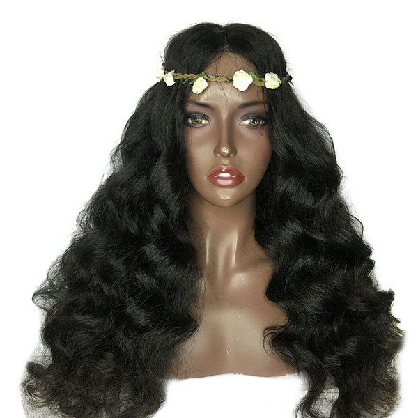 Lace Front Long Shaggy Middle Part Loose Wave Synthetic Wig - BLACK