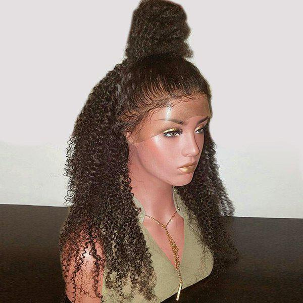 Long Free Part Bouffant Kinky Curly Lace Front Synthetic Wig - BROWN