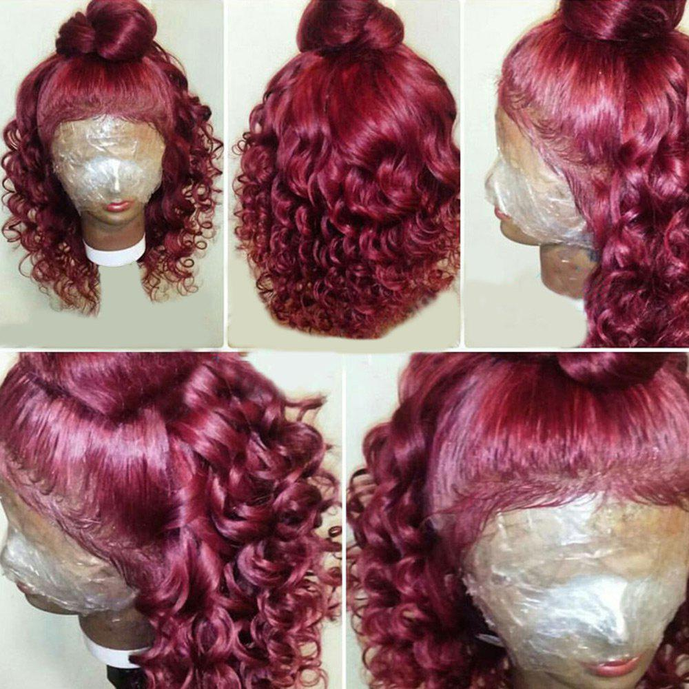 Long Free Part Shaggy Loose Wave Lace Front Synthetic Wig - WINE RED