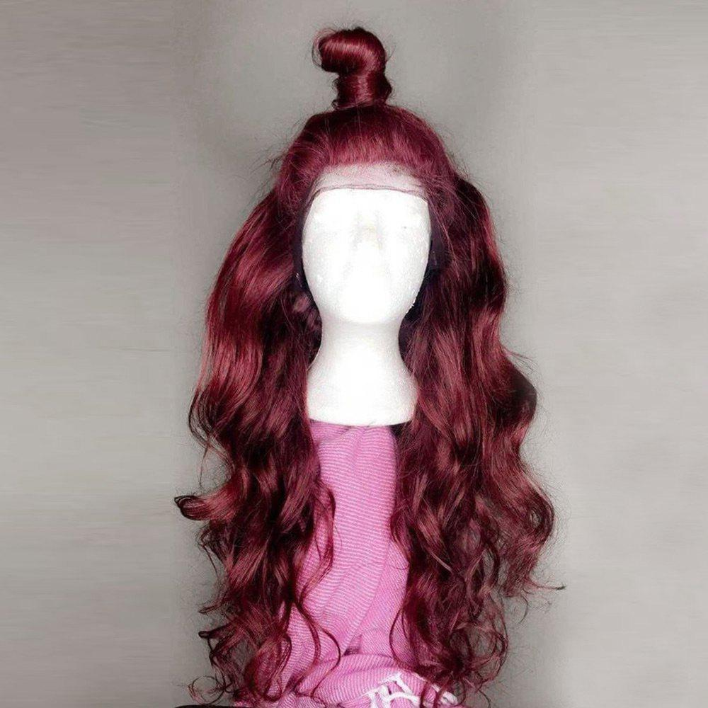 Long Free Part Body Wave Synthetic Lace Front Wig - WINE RED