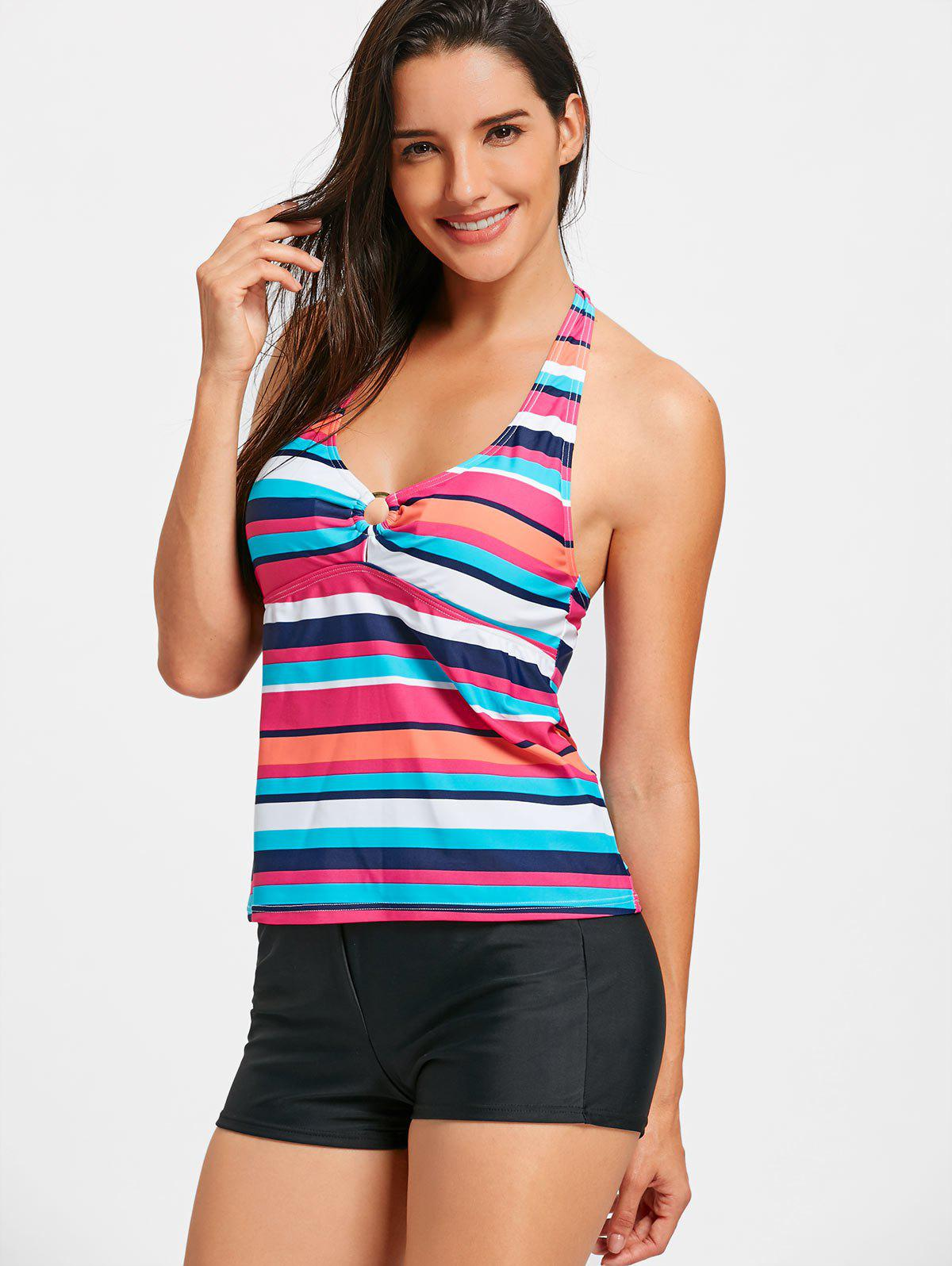 Halter Backless Striped Tankini Set - STRIPE L
