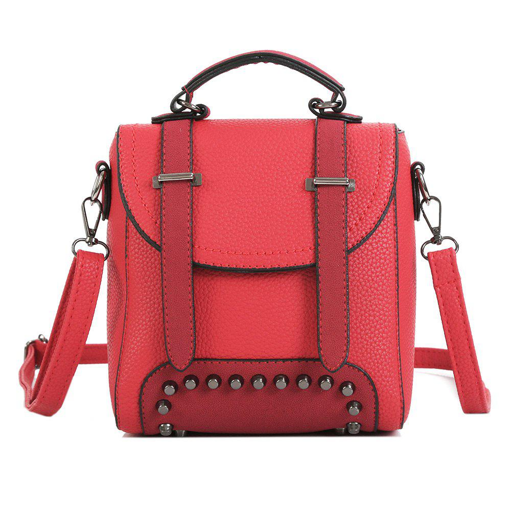Studs Multi Function Buckle Strap Backpack - RED