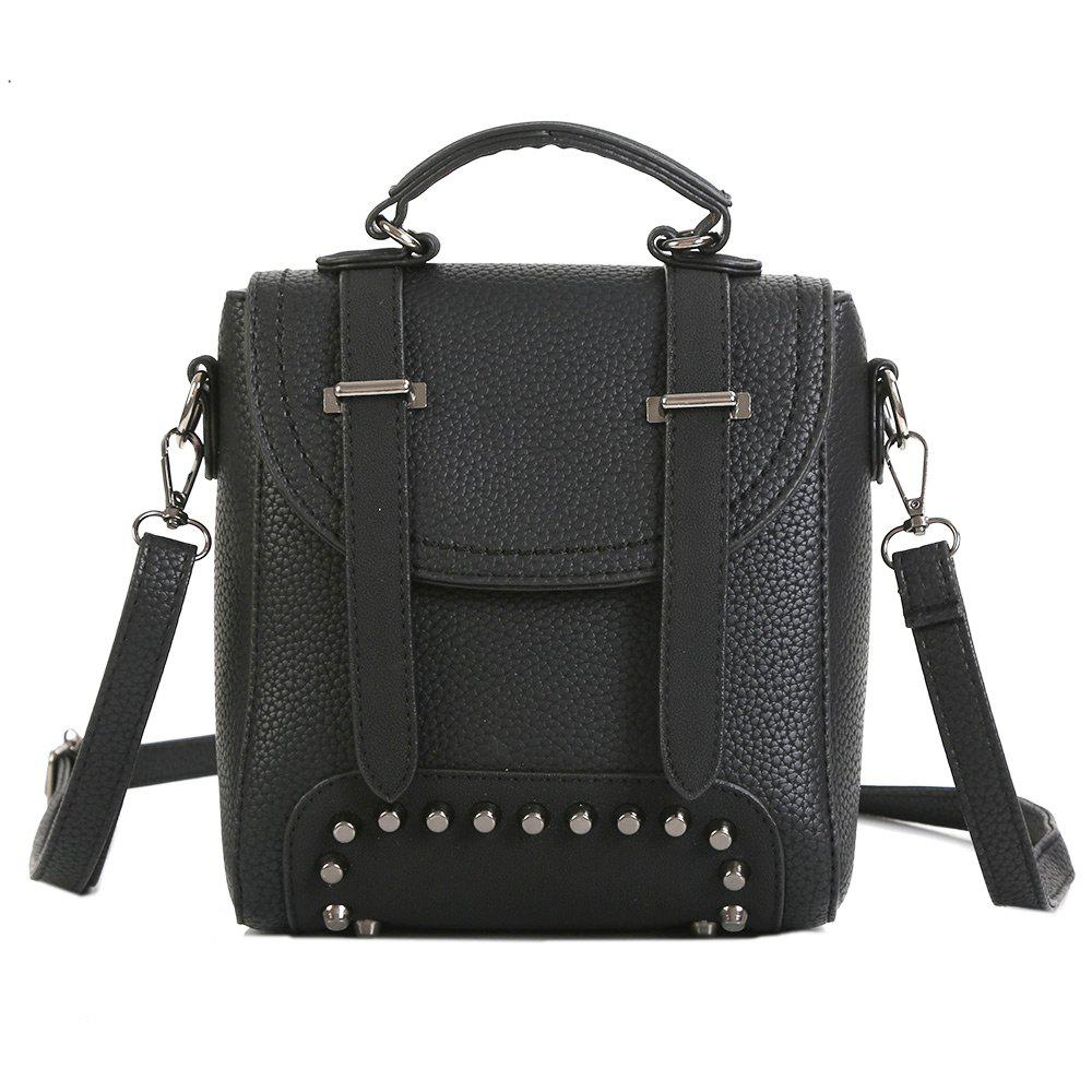 Studs Multi Function Buckle Strap Backpack - BLACK
