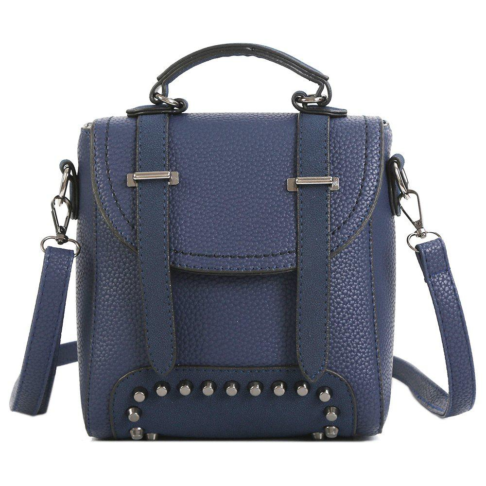 Studs Multi Function Buckle Strap Backpack - BLUE
