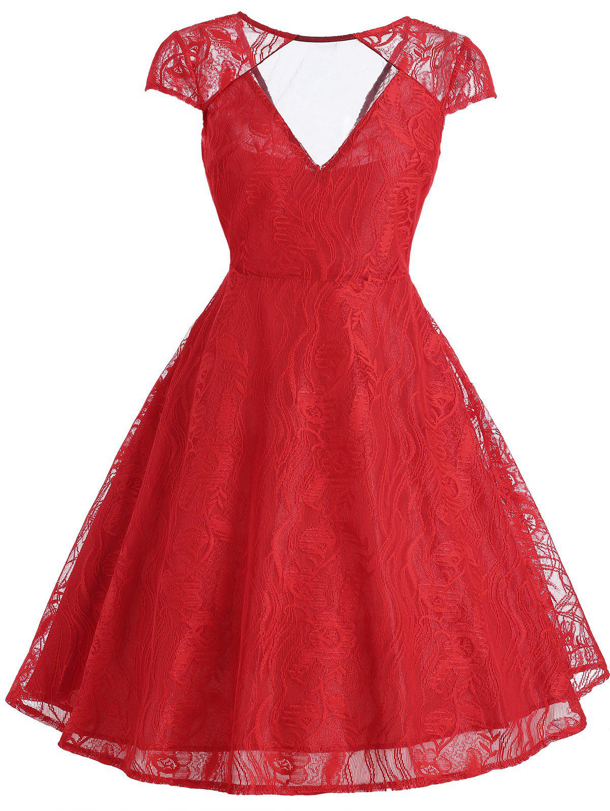 Vintage Lace Panel Overlay Dress - RED S