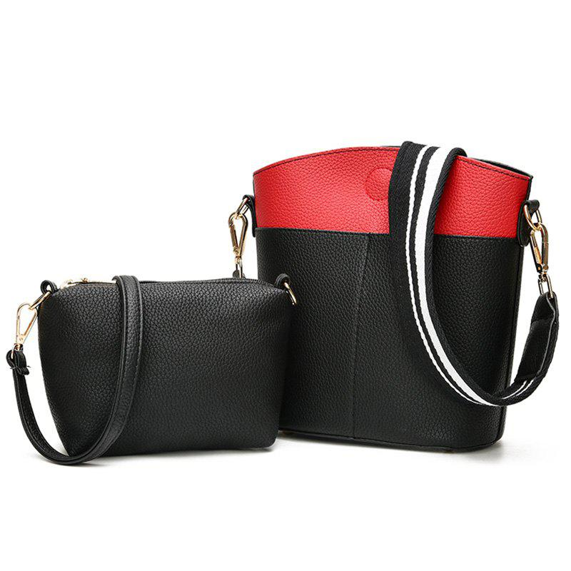 Contrasting Color 2 Pieces Shoulder Bag Set - BLACK
