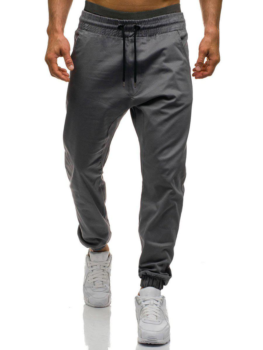 Drawstring Waist Beam Feet Jogger Pants - IRON GREY 3XL