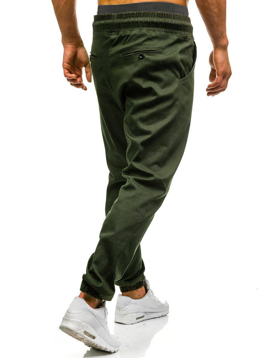 Drawstring Waist Beam Feet Jogger Pants - ARMY GREEN L