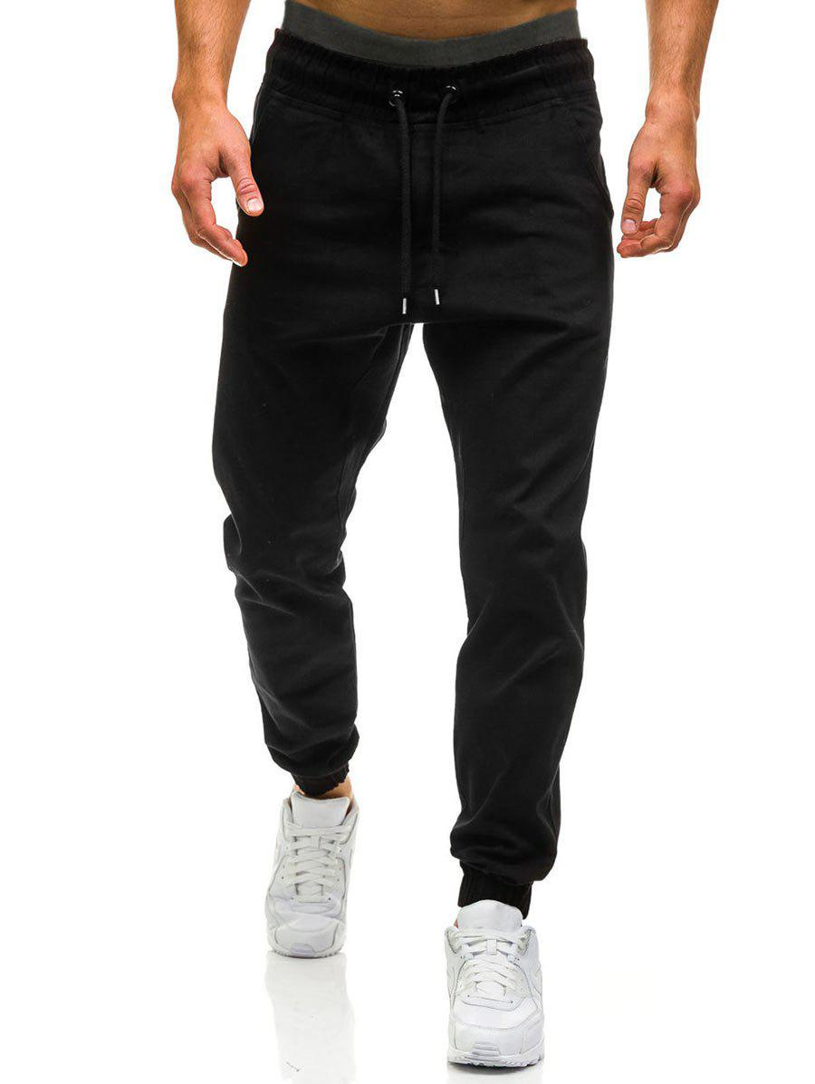 Drawstring Waist Beam Feet Jogger Pants - BLACK 2XL