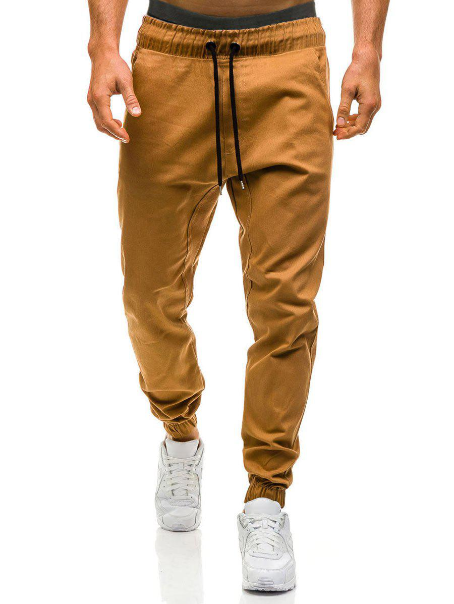 Drawstring Waist Beam Feet Jogger Pants - SUGAR HONEY 2XL