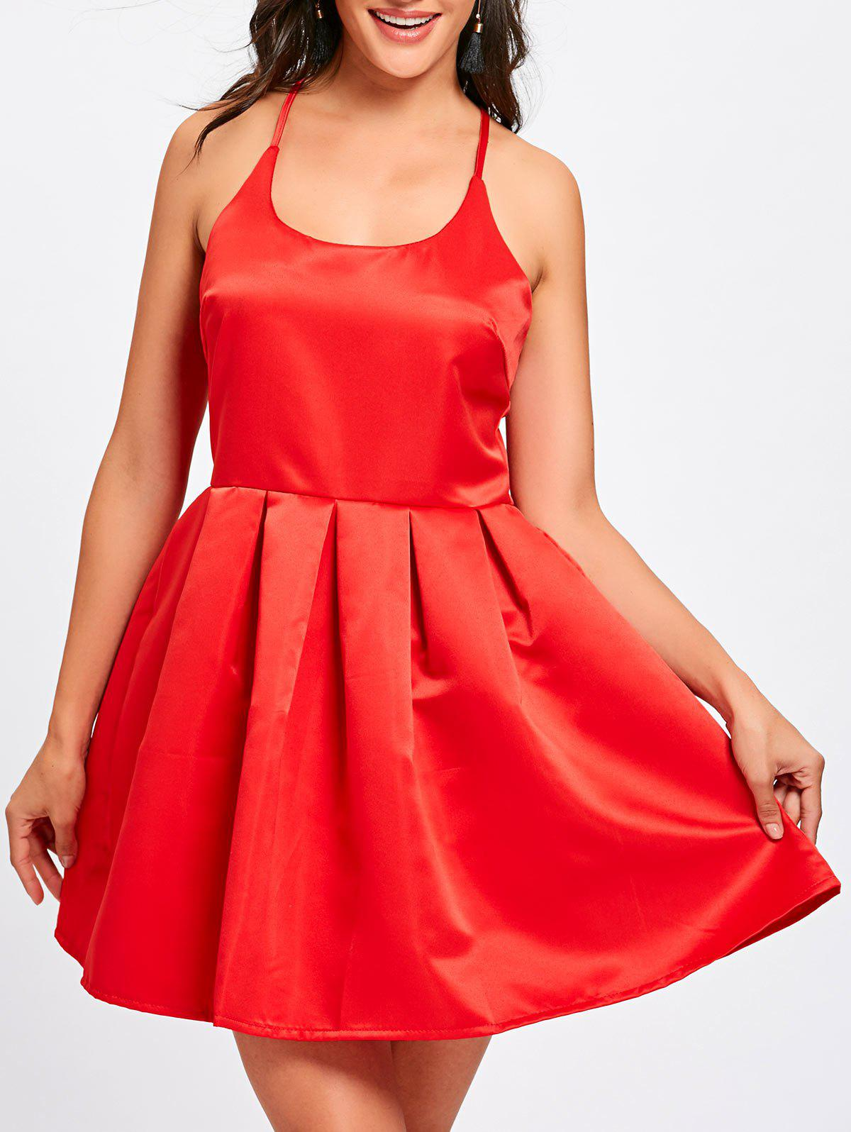Spaghetti Strap Backless Flare Mini Dress - RED XL
