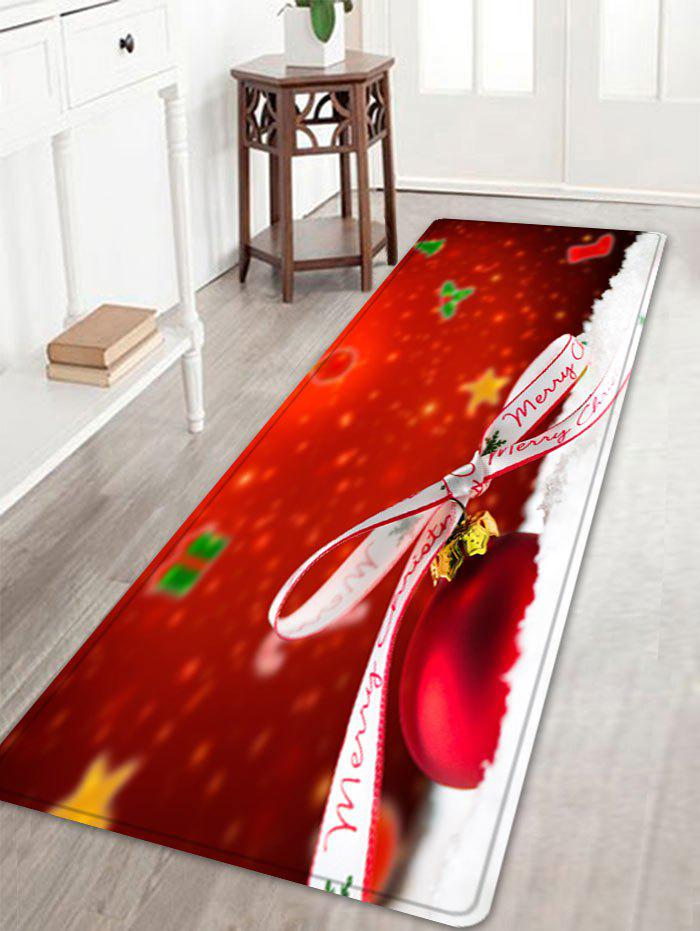 Christmas Bowknot Ball Pattern Indoor Outdoor Area Rug - RED W16 INCH * L47 INCH