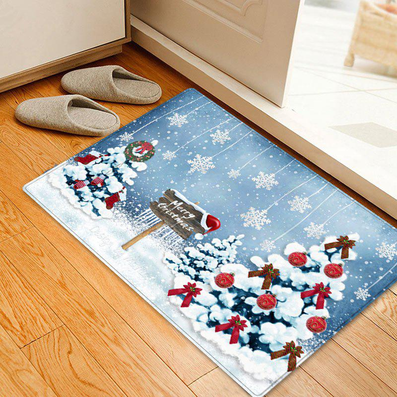 Christmas Trees Snowflakes Pattern Indoor Outdoor Area Rug - COLORMIX W16 INCH * L24 INCH
