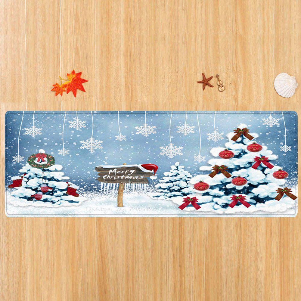 Christmas Trees Snowflakes Pattern Indoor Outdoor Area Rug - COLORMIX W16 INCH * L47 INCH