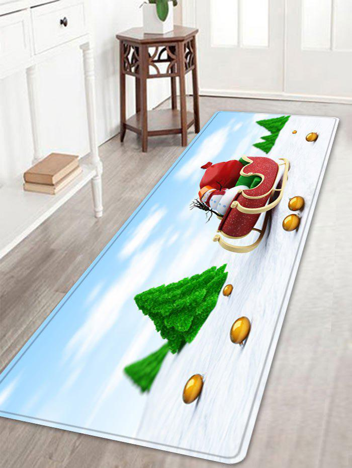Christmas Trees Sleigh Pattern Indoor Outdoor Area Rug - COLORMIX W16 INCH * L47 INCH