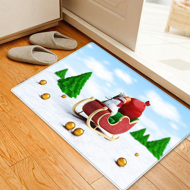 Christmas Trees Sleigh Pattern Indoor Outdoor Area Rug - COLORMIX W16 INCH * L24 INCH