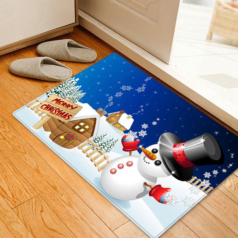 Christmas Snowman House Pattern Indoor Outdoor Area Rug - COLORMIX W16 INCH * L24 INCH