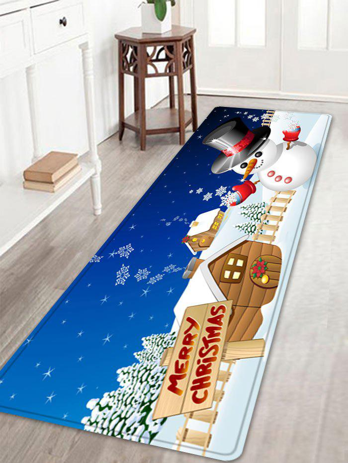Christmas Snowman House Pattern Indoor Outdoor Area Rug - COLORMIX W16 INCH * L47 INCH
