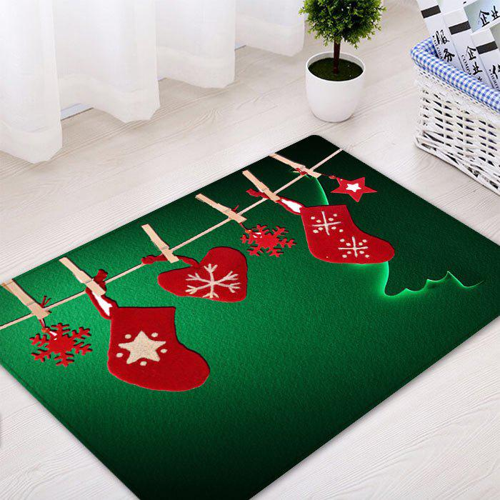 Christmas Hanging Socks Pattern Anti-skid Indoor Outdoor Area Rug - GREEN W16 INCH * L24 INCH