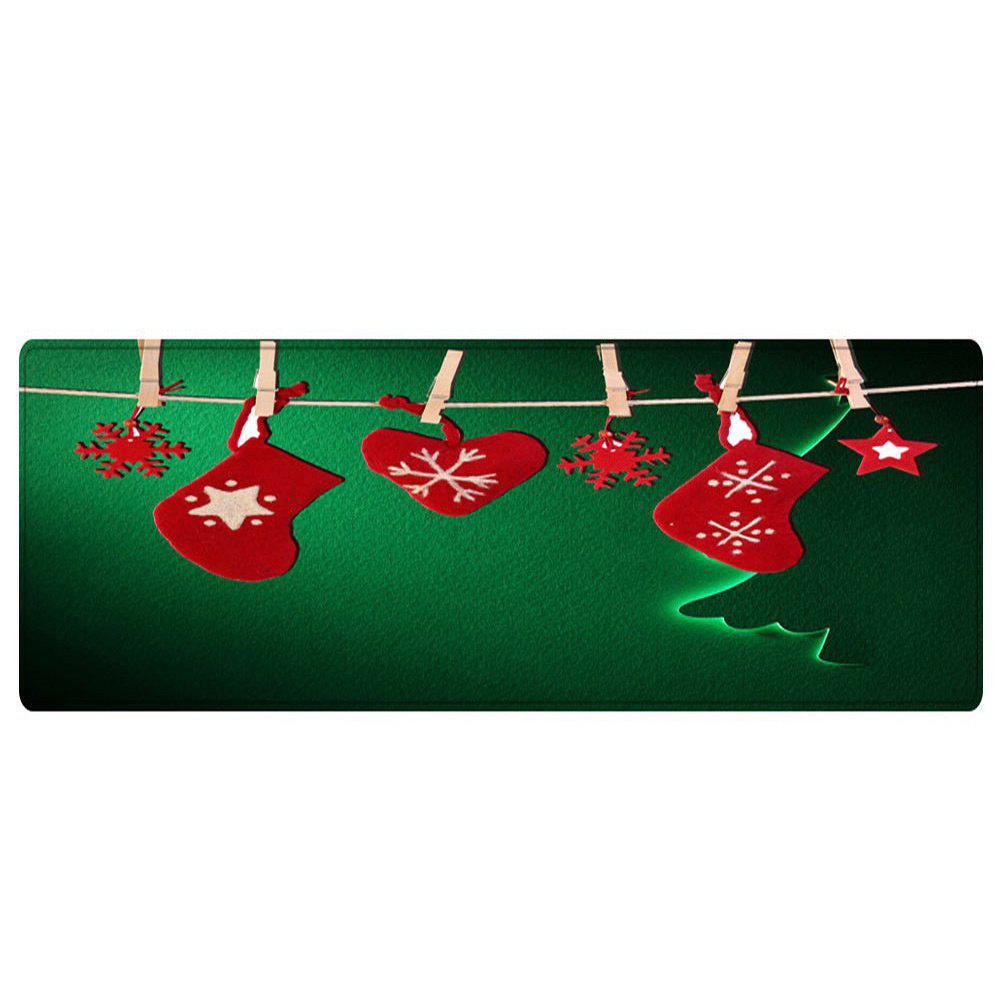 Christmas Hanging Socks Pattern Anti-skid Indoor Outdoor Area Rug - GREEN W24 INCH * L71 INCH