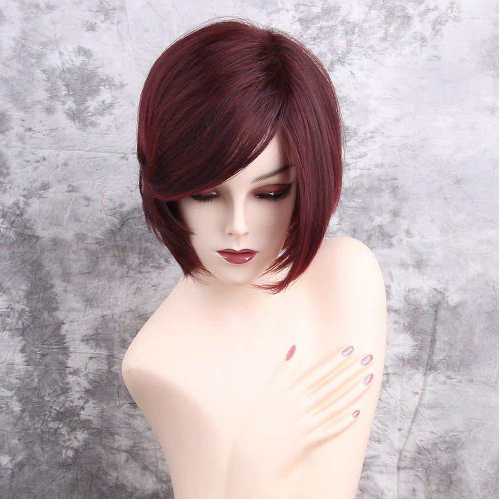 Inclined Fringe Short Straight Synthetic Wig short pixie cut capless straight inclined bang synthetic wig