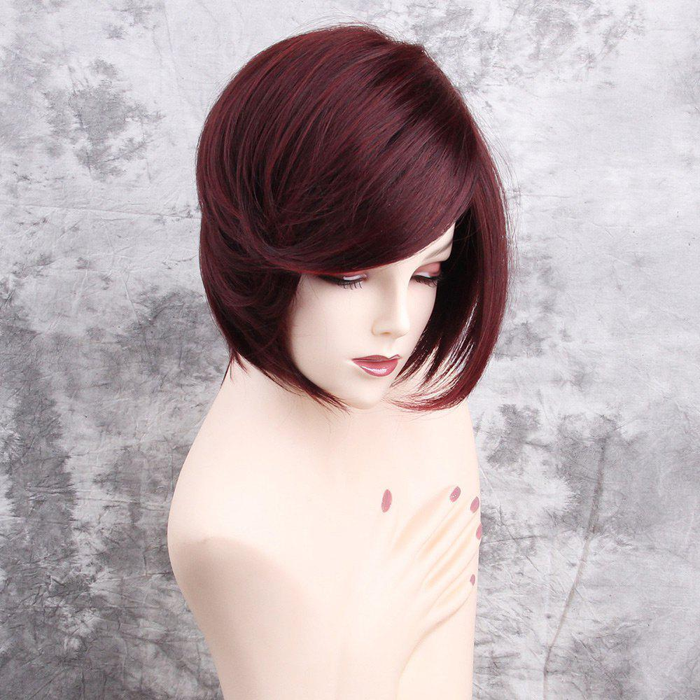 Inclined Fringe Short Straight Synthetic Wig - WINE RED