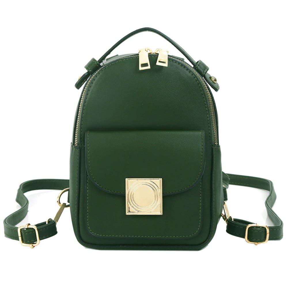 PU Leather Metal Embellished Backpack - BLACKISH GREEN