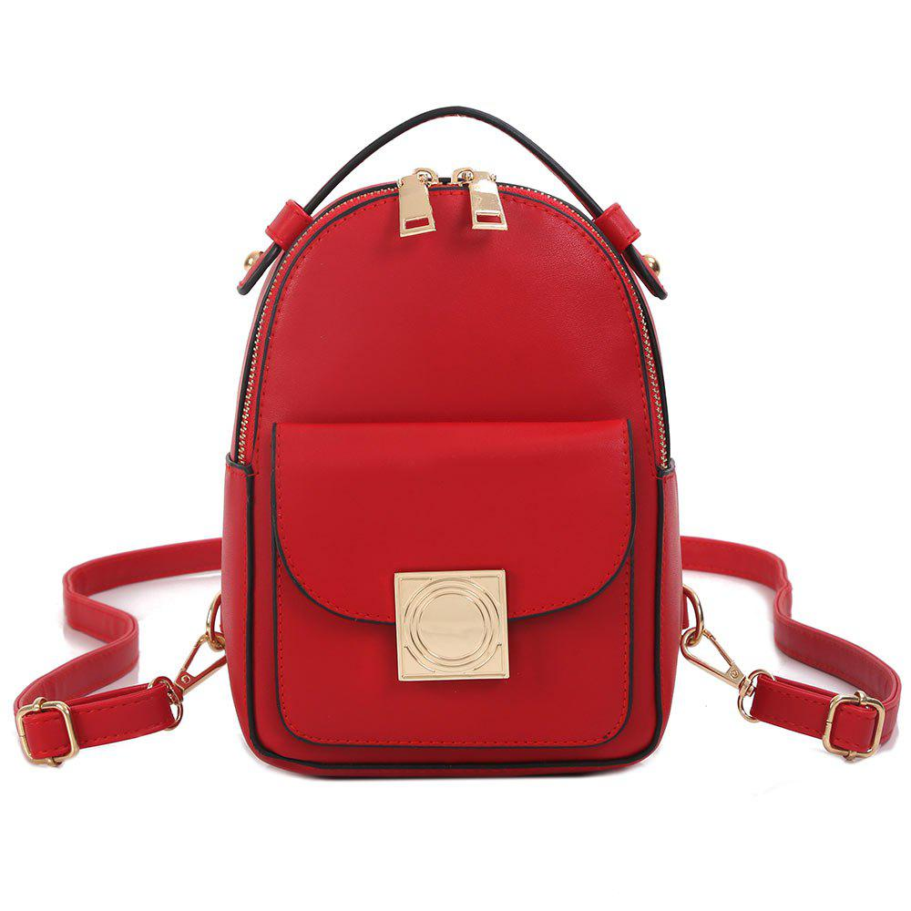 PU Leather Metal Embellished Backpack - RED