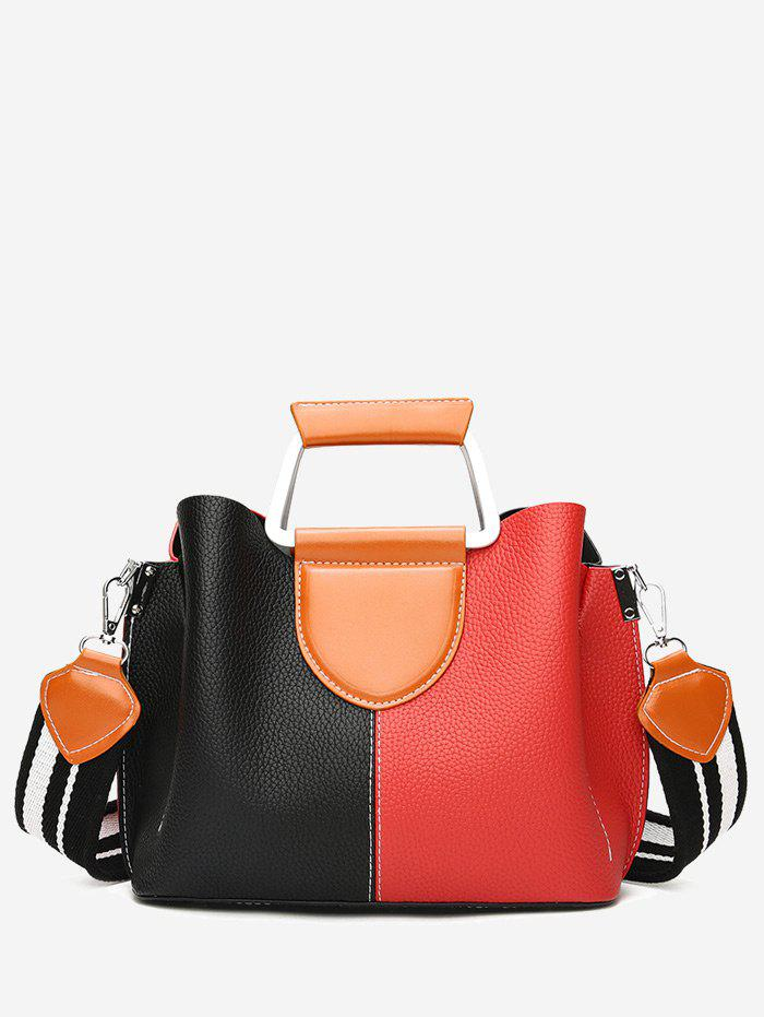 Contrasting Color Faux Leather Stitching Handbag - BLACK/RED