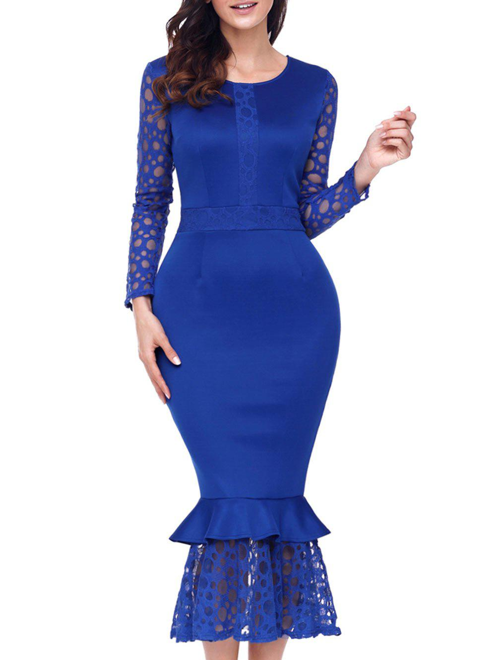 Long Sleeve Lace Panel Bodycon Mermaid Dress - BLUE S
