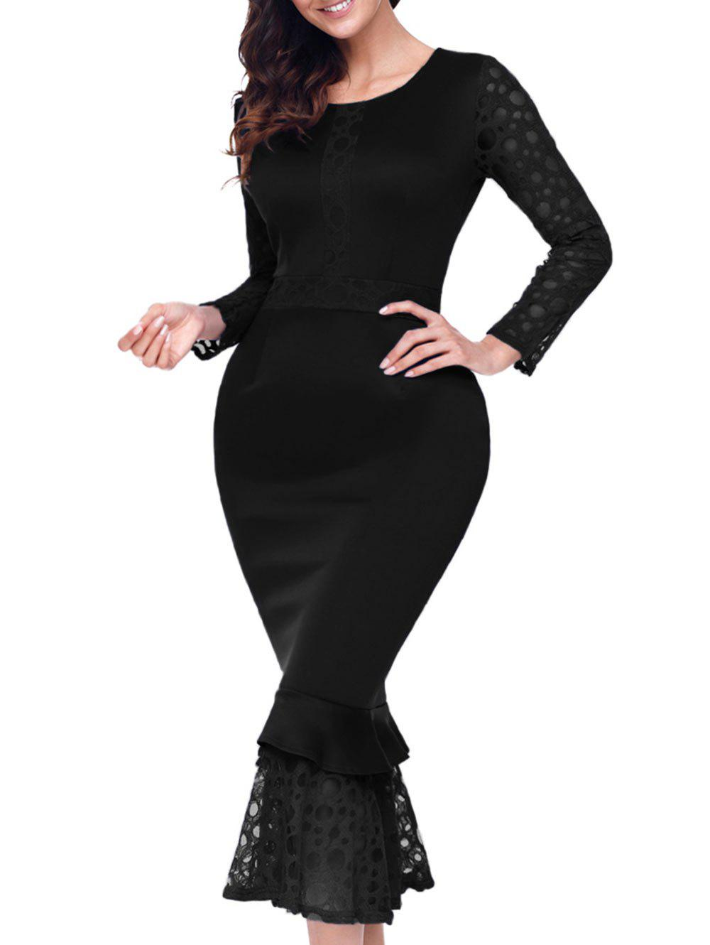 Long Sleeve Lace Panel Bodycon Mermaid Dress - BLACK S