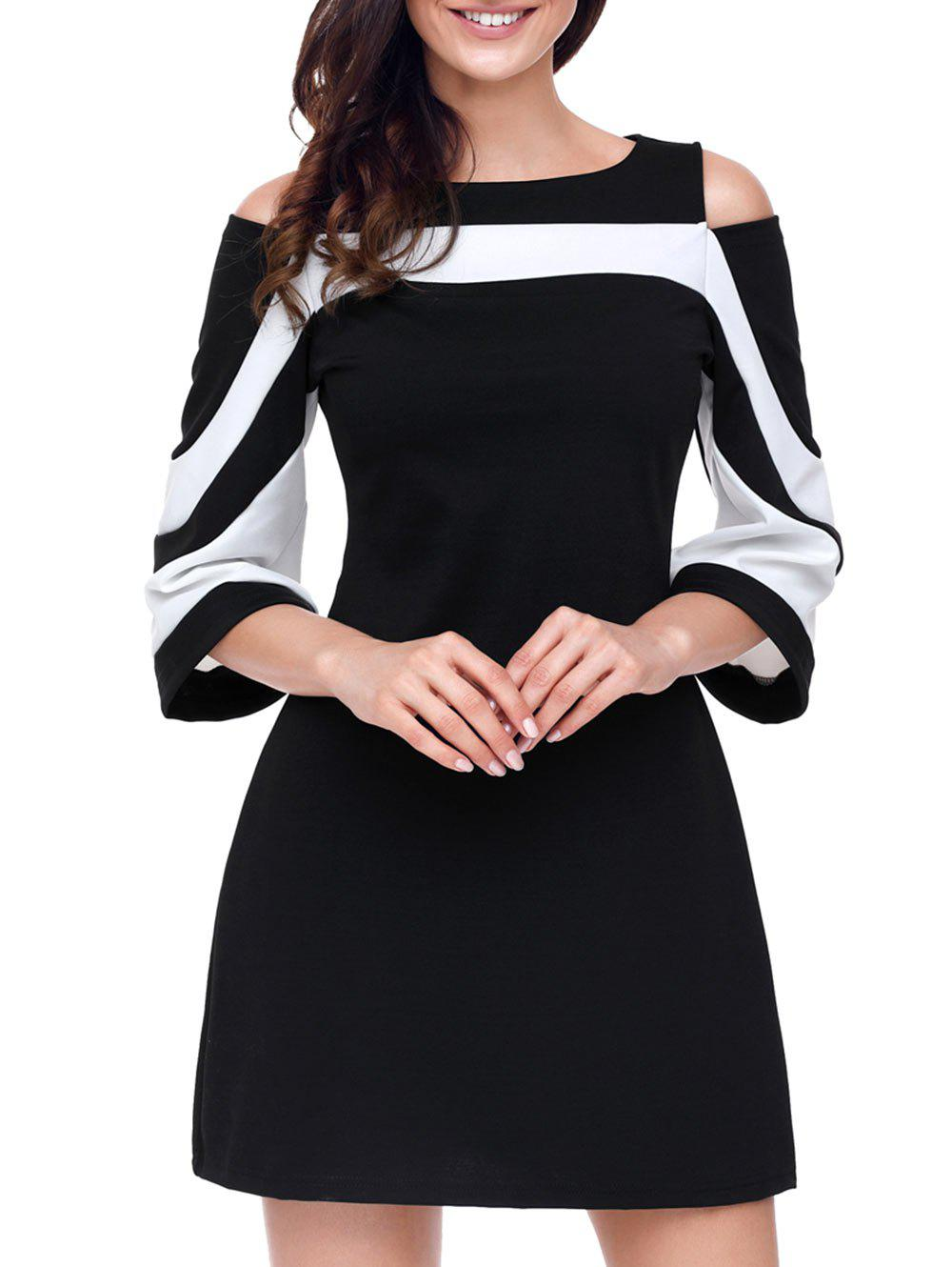 Two Tone Cold Shoulder A-line Dress - BLACK L