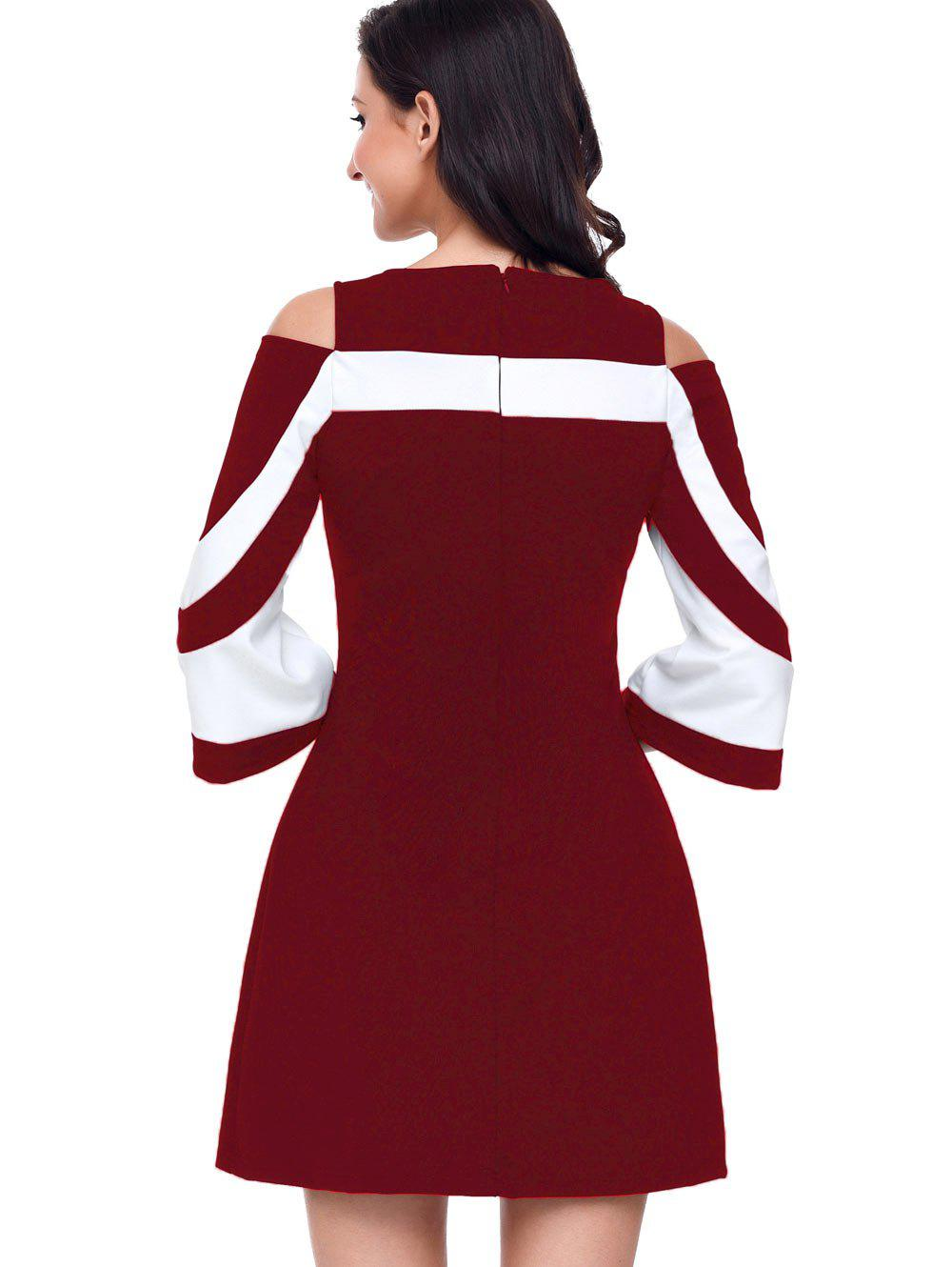 Two Tone Cold Shoulder A-line Dress - WINE RED M