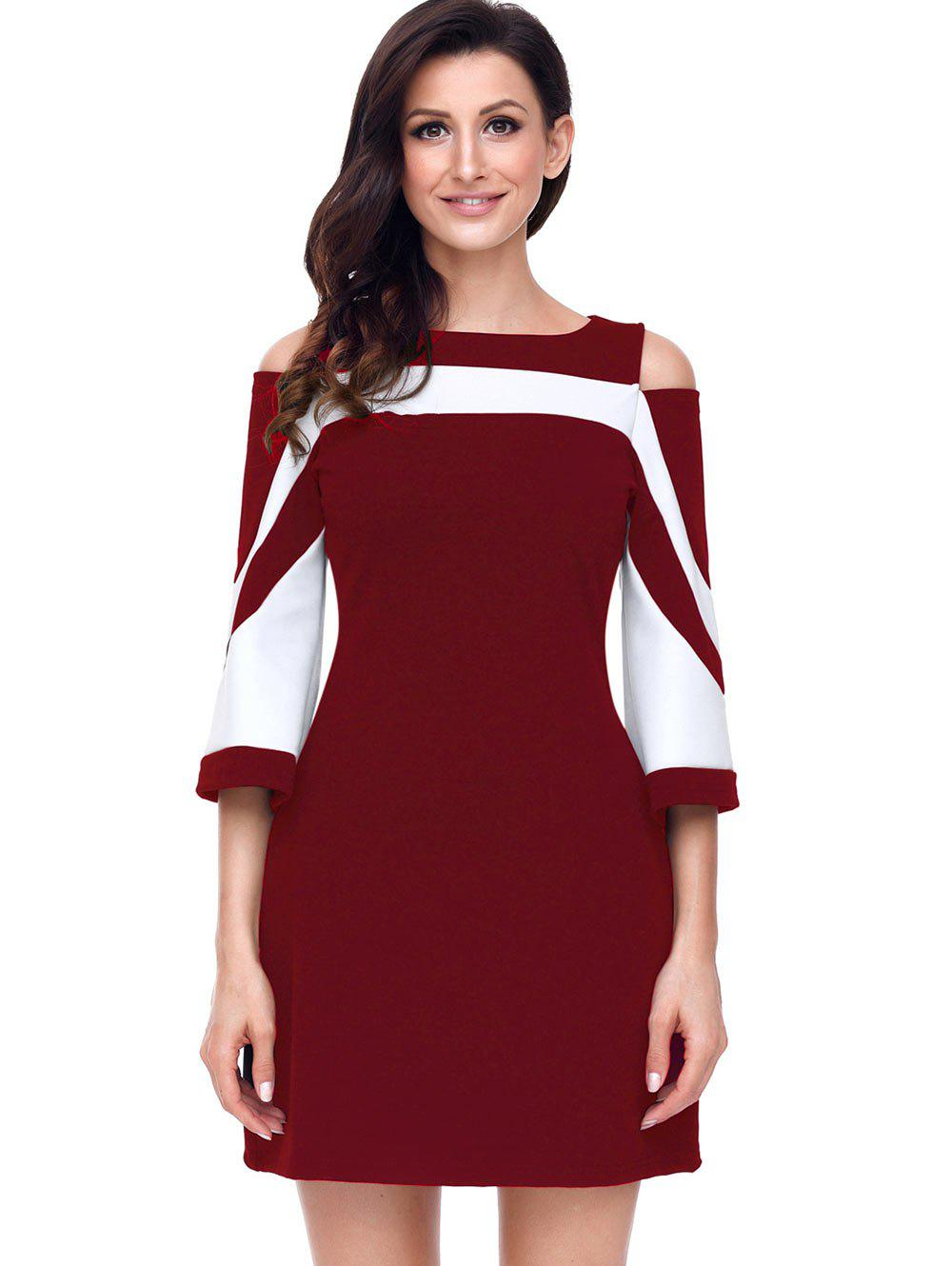 Two Tone Cold Shoulder A-line Dress - WINE RED XL