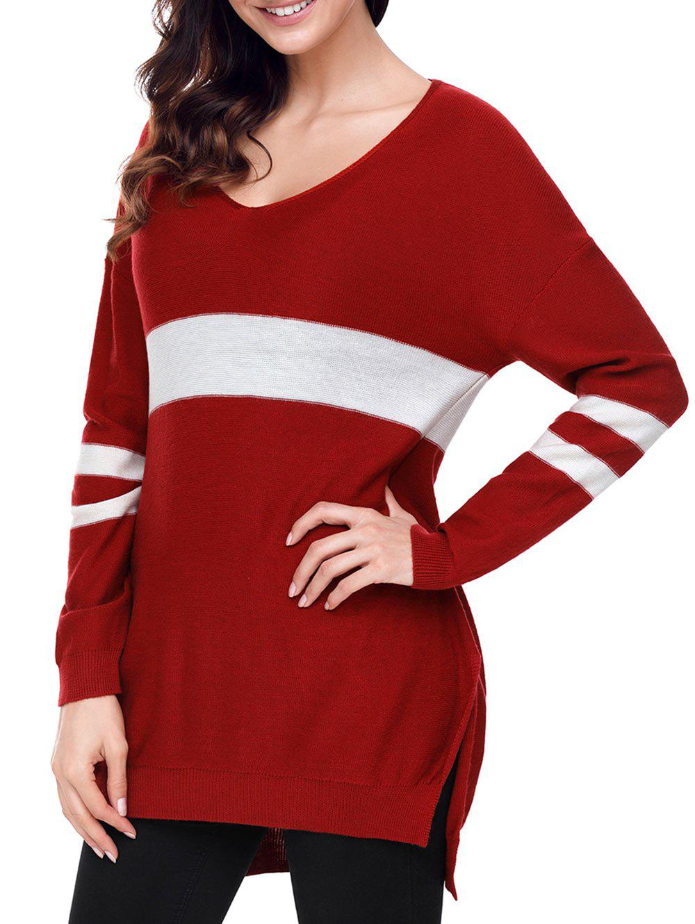 V Neck High Low Slit Tunic Sweater - RED S