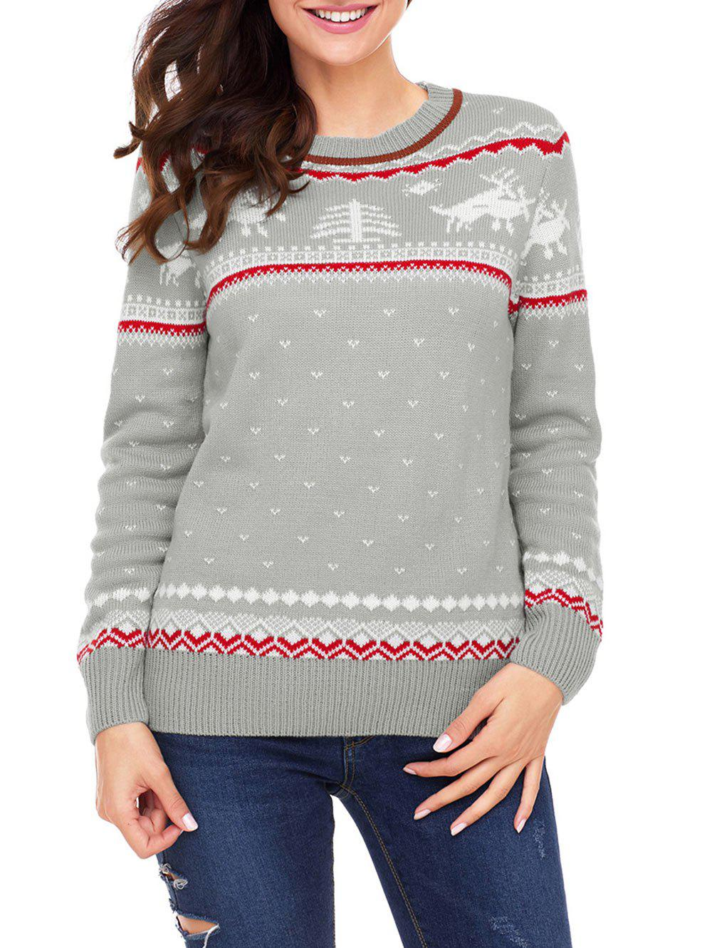 Crew Neck Christmas Jacquard Sweater - GRAY XL