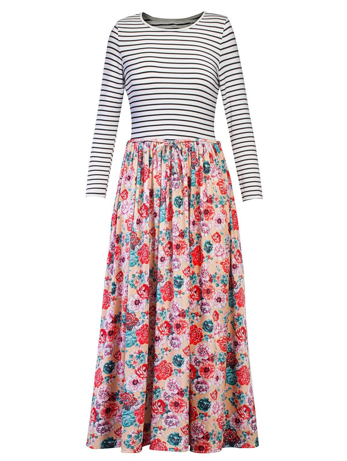Floral Print Striped Maxi Dress - FLORAL M