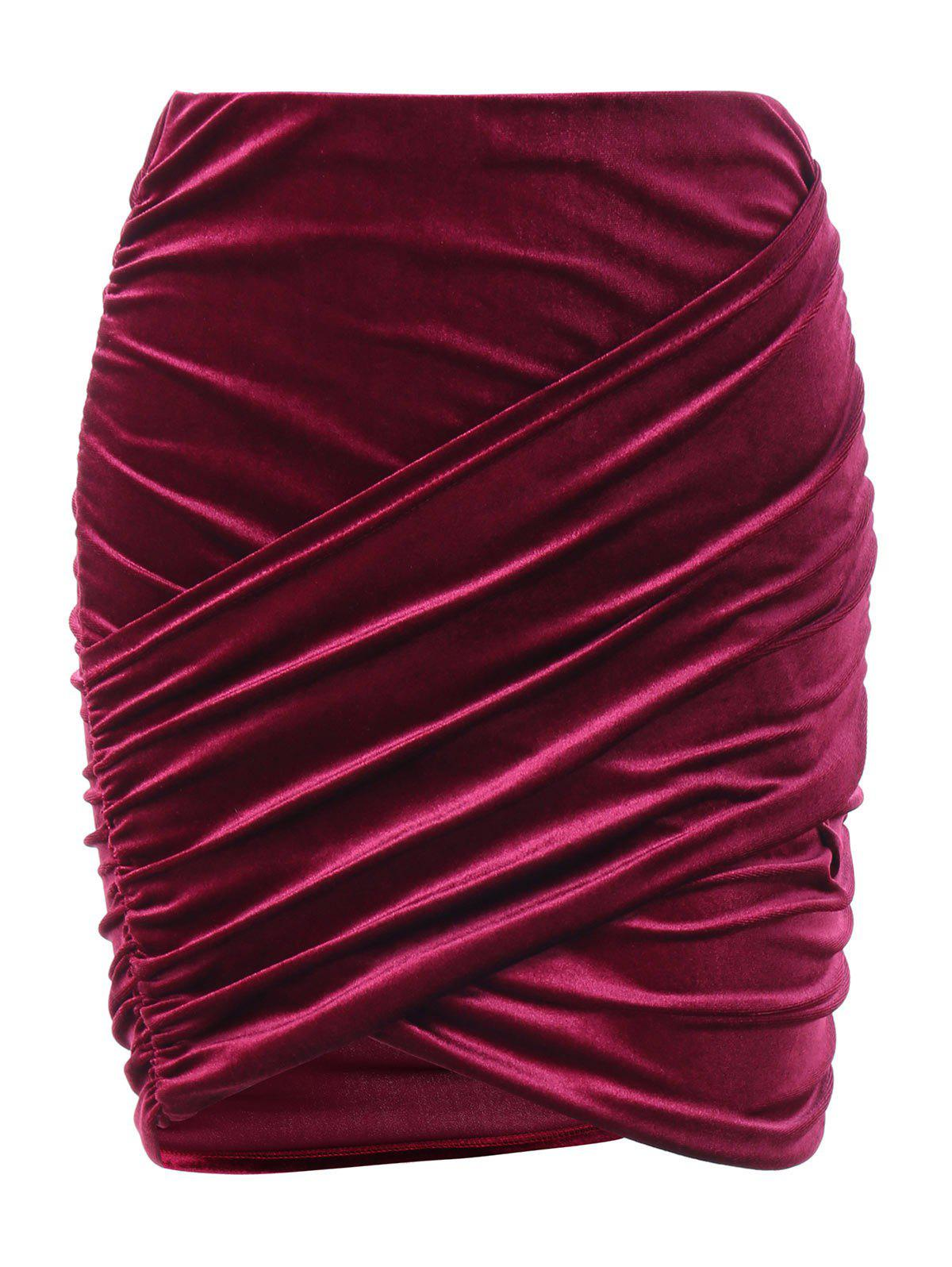 Velvet Ruched Strapless Tank Top - RED ONE SIZE