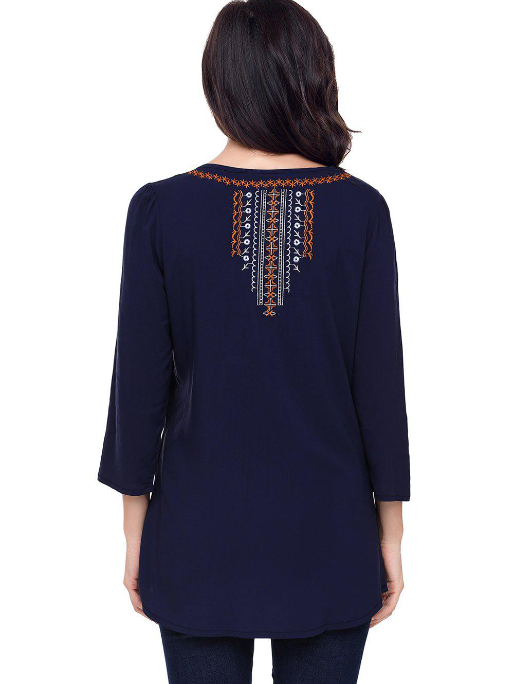 Ethnic Embroidered Tunic Blouse - BLUE XL