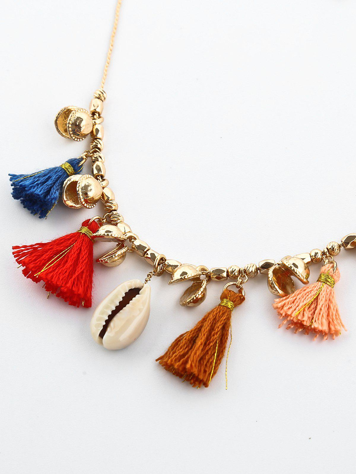 Shell Tassel Charm Necklace - COLORMIX