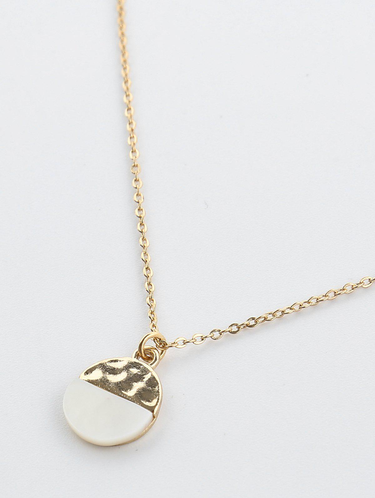 Two Tone Round Pendant Necklace - GOLDEN